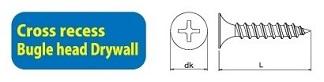410SSP-1000 Self Drilling Screw Cross Recess Bugle Head Drywall