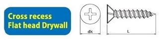 410SSP-1000 Self Drilling Screw Cross Recess Flat Head Drywall